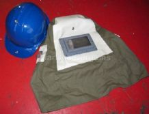 Grit Blast Hood with a Built in Safety Helmet. Sand Blasting Hood with Screen 1